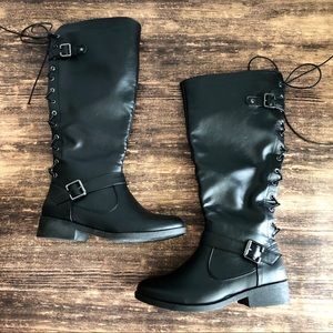 WANTED Boots Black Leather Lace Up Tall Size 6